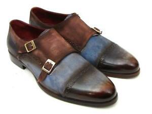 Paul Parkman Captoe Double Monkstrap Antique Blue & Brown Suede (ID#045AN14)