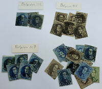 BELGIUM LEOPOLD FRAMED MEDALLIONS STAMPS LOT 10C BLUE 20C BROWN 1850s-1860s