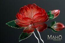 EXQUISITE Handmade JAPANESE KANZASHI HAIRPIN STICK COMB KIMONO Camellia TSUBAKI