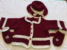 Toddler Girl Coat Sweater Hat Mittens Crochet Photo Prop Outfits Clothes 2T-4T