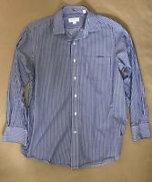 TOMMY BAHAMA Blue Striped Button Up Dress Shirt Size: 16 32-33