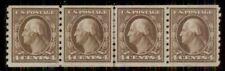 US #395 4¢ brown, Coil Guide Line Strip of 4, og, LH, VF, Miller certificate,