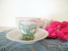 VINTAGE CUP & SAUCER SHELL SHAPE SWANS VICTORIA AUSTRIA 273 LUSTRE WARE SMALL