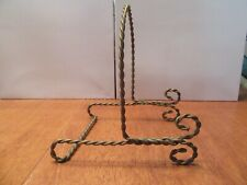 Vintage Mid Century Brass Gold Wire Metal Easel Plate Stand Picture Holder Shelf