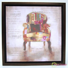 Vintage Shabby Chic Style Canvas with Frame - Wingback Chair - NEW