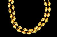 22K YELLOW GOLD 2 LINE BEADS DHOLAKI PATTERN CHAIN NECKLACE TRIBAL INDIA JEWELRY