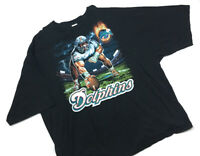 VTG Murina Miami Dolphins Black Graphic T-Shirt NFL 1990s Men's 5XL
