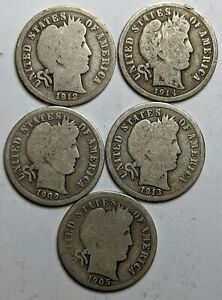 5 Different Dates Barber Silver Dimes - 173022K