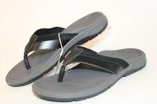 Vionic Dennis Mens 10 43 Black Leather Thongs Sandals Flip Flops Walking Shoes