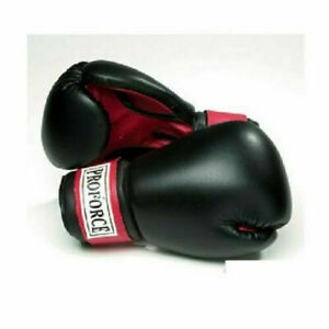 ProForce Black Leatherette Unisex Boxing Bag Gloves Red Palm Fitness Cardio
