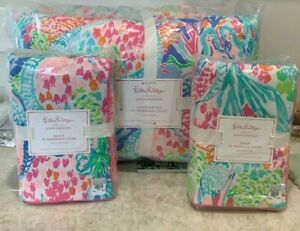 Pottery Barn Kids Lilly Pulitzer MERMAID cove FULL QUEEN comforter quilt 2 shams