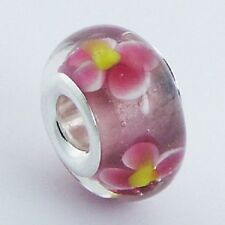 Murano Glass Bead Pink  13mm high sterling silver core for charm bracelet