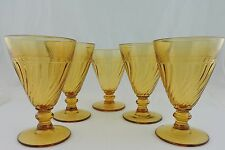 VINTAGE CONUS SWIRL AMBER WINE/DESSERT/ICE CREAM GLASS SET 5 STEMWARE GLASSWARE