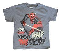 NEW! Star Wars Darth Maul Light Saber Vader Clone Wars Gray Shirt Kids Youth XS
