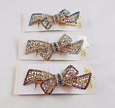 Rhinestone Hair Clip Large Gold Metal Clip Bow Design Wedding Prom Dressy