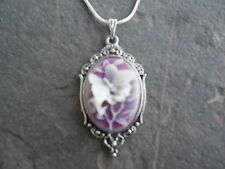 **STUNNING (WHITE BUTTERFLY/PURPLE) CAMEO NECKLACE!!!! .925 PLATED CHAIN