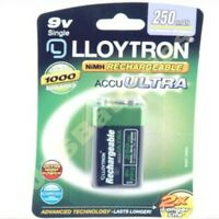 1 x 9V 250mAh Ni-MH Lloytron Ultra Rechargeable Batteries PP3 R22