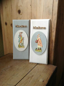 French Style Wooden Door Signs with Vintage French Cut Out Figures .