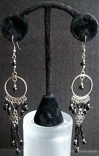 Black Silver Onyx Ebony Dangle Chandelier Earrings Unique Handmade Long Drop E