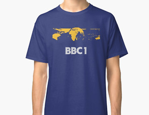 BBC1 Vintage Logo Ident Globe Cool New Navy T Shirt