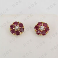 2.25 Ct Ruby and White Diamond Flower Shape Stud Earrings 14K Yellow Gold Finish