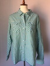 Simms Vented Fishing Women's Shirt XL Green Check Pearl Snap Button Guide Series