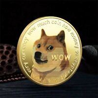 Gold Dogecoin Commemorative Coin WOW Gold Plated Cute Dog Pattern Souvenir Coins