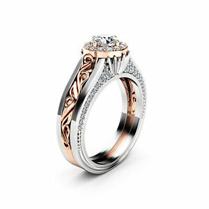 Halo Diamond Engagement Ring in 14K White And Rose Gold Unique Halo Diamond