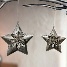 2pcs Antique Metal Xmas Christmas Tree Decorations Hanging Star Ornaments