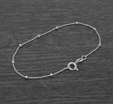 Genuine 925 Sterling Silver Beaded Round Ball Chain Bracelet