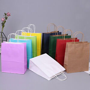 11 Bright Paper Party Bags - Gift Bag With Handles -Birthday Loot Bag