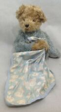 """Annette Funicello Brown/gray Bear W/blue Blanket W/clouds 9"""" Sitting Jointed U3"""