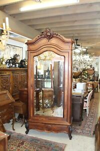 French Antique  Louis XV Beveled Mirror Armoire With 3 Shelf & 2 Drawer