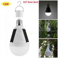 E27 12W Energía solar LED Bombilla Lampara luz de Camping al aire Libre Patio