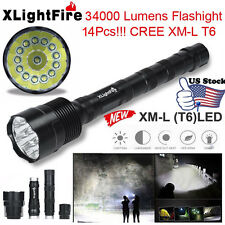 XLightFire 34000 Lumens 14x CREE XML T6 5 Mode 18650 Super Bright LED Flashlight