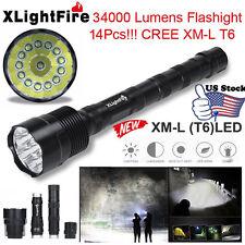 XLightFire 34000 Lumens 14x CREE XML T6 5 Mode 18650 Super Bright LED Flashlight