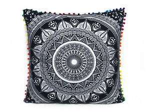 "Cotton Cushion Cover 24"" Black Silver Pillow Cover Mandala Cushion Cover Throw"