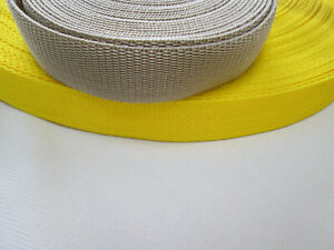 Polyproplene Webbing  bright yellow or beige x 2, 5 or 10 metres  25mm wide