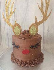 Reindeer Rudolph horn set cake topper glitter Christmas Xmas trade bulk order
