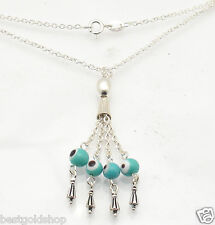 Ocean Blue Dangling Evil Eye Pendant Cable Chain Real 925 Sterling Silver