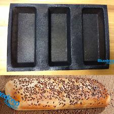 New Non stick Silicone Fiberglass French Bread 3 Roll Mould Baguette Tray