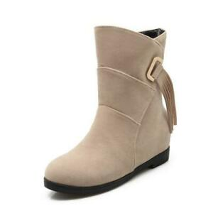 Women's Wedge Heel Ankle Boots Ladies Casual Outdoor Snow Winter Shoes 34/43 D