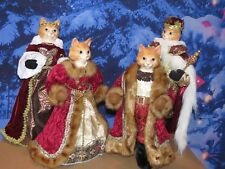"""STUNNING ROYAL CAT FAMILY 22"""" TALL PORCELAIN FIGURINE DOLLS KING & QUEEN PRINCE+"""