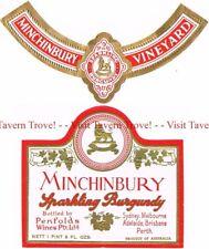 Unused 1940s AUSTRALIA Sydney Penfolds MINCHINBURY SPARKLING BURGUNDY Wine Label