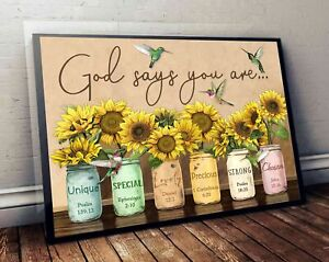 Hummingbird Sunflower God Says You Are Wall Hanging Decor Poster No Frame