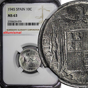 Spain Aluminum 1945 10 Centimos NGC MS63 WWII Issue NICE BU COIN  KM# 766