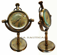 Vintage Wheel Anchor Maritime Antique Brass Desk Clock Nautical Pocket Watch