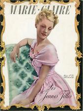 """""""MARIE-CLAIRE : LES JEUNES FILLES"""" Couverture originale entoilée 18/11/1938"""
