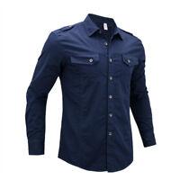 Mens Long Sleeves Dress Denim Shirts Military Luxury Casual Multicolor EK6412