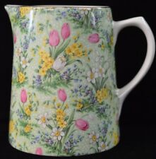 Vintage Lord Nelson Pottery Green Tulip Chintz Pitcher